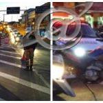 Motorista passa por cima da moto da PM